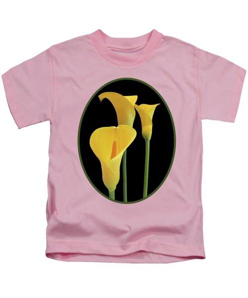 Calla Lilies - Yellow On Black Kids T-Shirt by Gill Billington