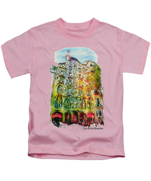Casa Batllo Barcelona Kids T-Shirt by Marian Voicu
