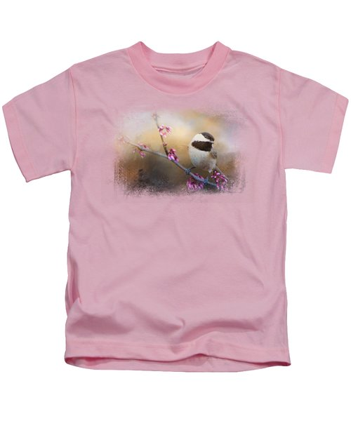 Chickadee And Pink Blooms Kids T-Shirt by Jai Johnson