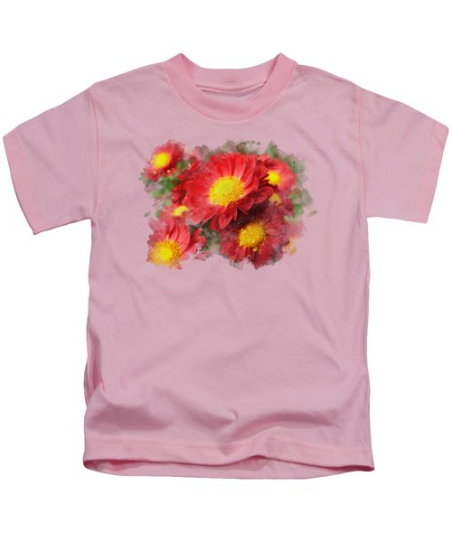Chrysanthemum Watercolor Art Kids T-Shirt by Christina Rollo
