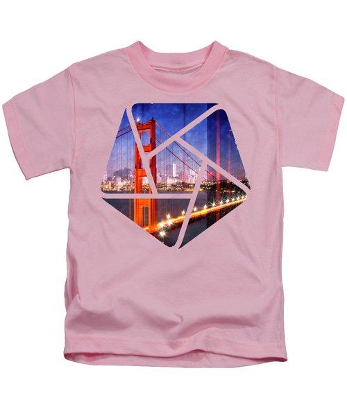 City Art Golden Gate Bridge Composing Kids T-Shirt by Melanie Viola