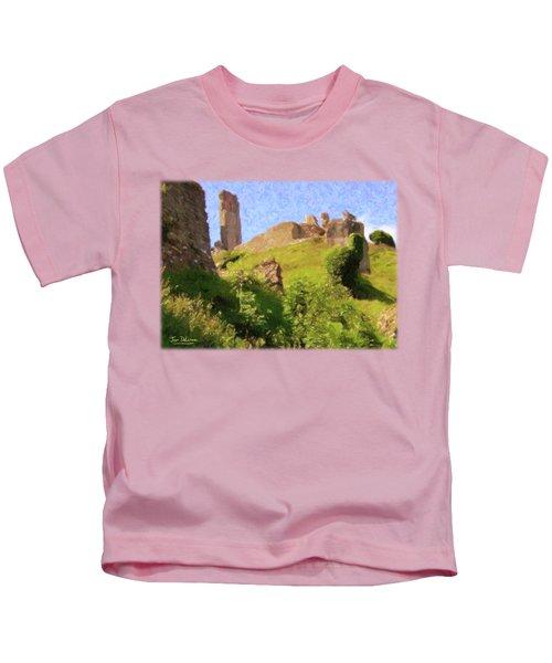 Corfe Castle Kids T-Shirt by Jon Delorme
