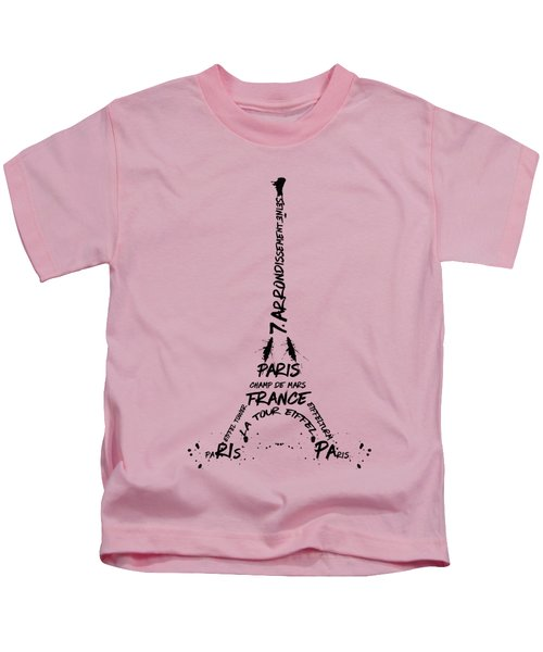 Digital-art Eiffel Tower Kids T-Shirt by Melanie Viola