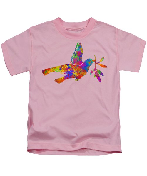 Dove With Olive Branch Kids T-Shirt by Christina Rollo