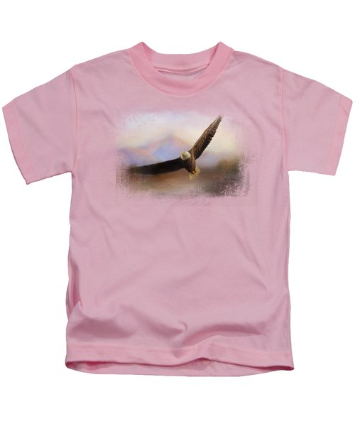 Eagle At The Mountain Kids T-Shirt by Jai Johnson