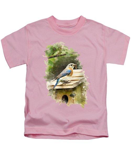 Eastern Bluebird Watercolor Art Kids T-Shirt by Christina Rollo