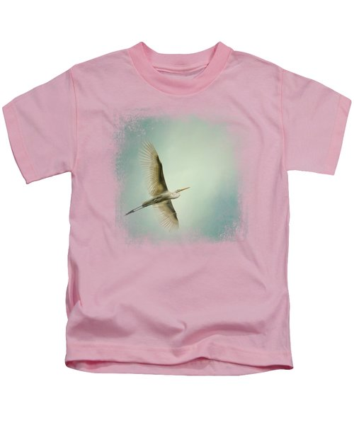 Egret Overhead Kids T-Shirt by Jai Johnson