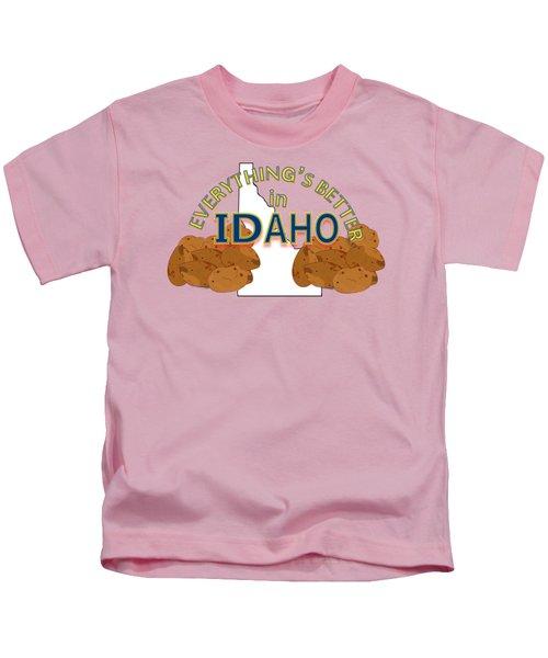 Everything's Better In Idaho Kids T-Shirt by Pharris Art