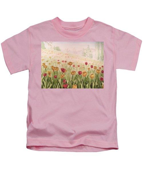 Field Of Tulips Kids T-Shirt by Kayla Jimenez