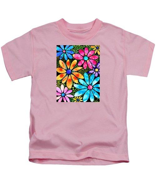 Floral Art - Big Flower Love - Sharon Cummings Kids T-Shirt by Sharon Cummings