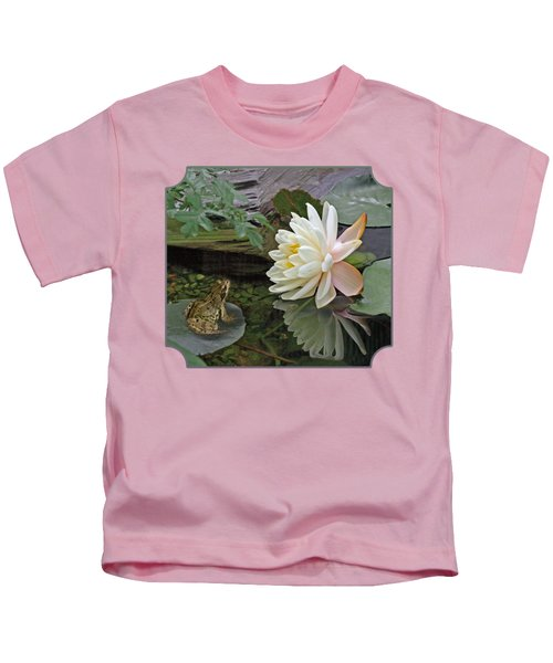 Frog In Awe Of White Water Lily Kids T-Shirt by Gill Billington