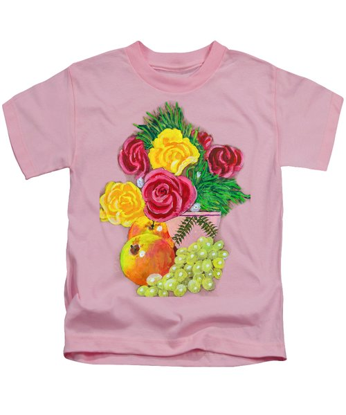 Fruit Petals Kids T-Shirt by Joe Leist -digitally mastered by- Erich Grant