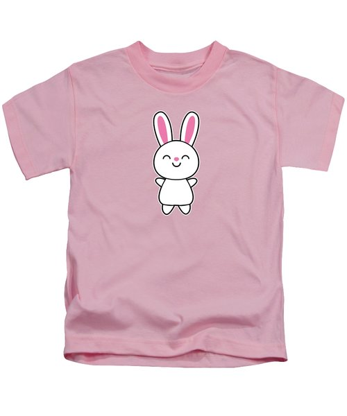 Funny Cute Rabbit Bunny In Pink Kids T-Shirt by Philipp Rietz