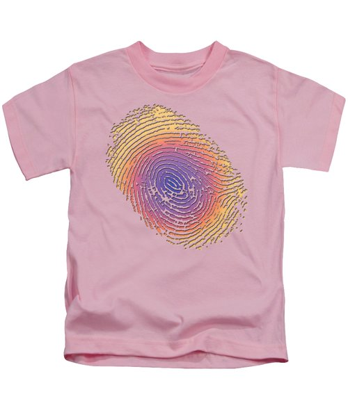 Giant Iridescent Fingerprint On Salmon Roe Pink Set Of 4 - 2 Of 4 Kids T-Shirt by Serge Averbukh