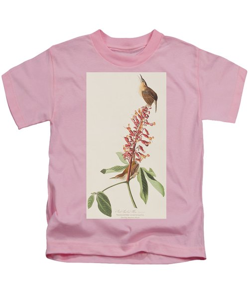 Great Carolina Wren Kids T-Shirt by John James Audubon