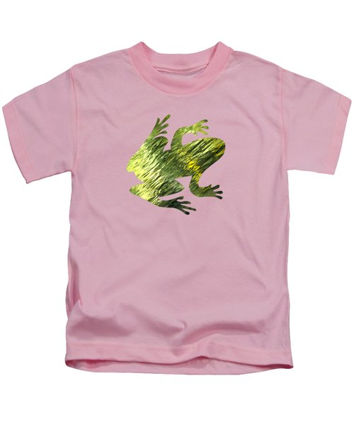Green Abstract Water Reflection Kids T-Shirt by Christina Rollo