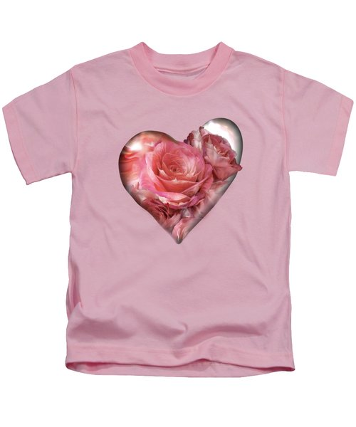 Heart Of A Rose - Melon Peach Kids T-Shirt by Carol Cavalaris