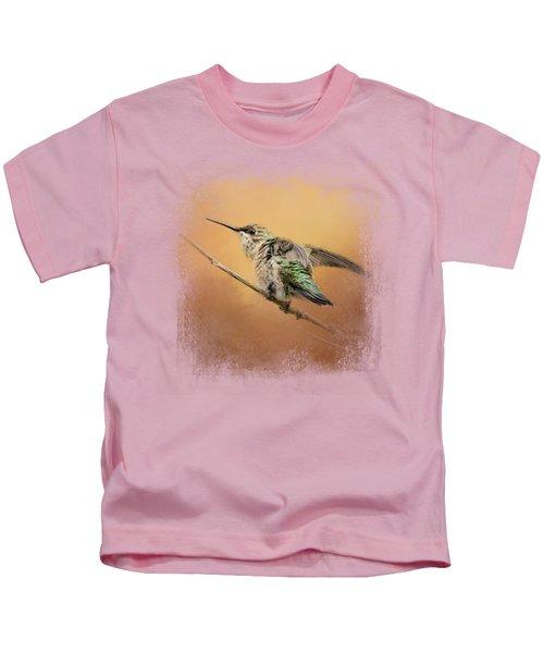 Hummingbird On Peach Kids T-Shirt by Jai Johnson