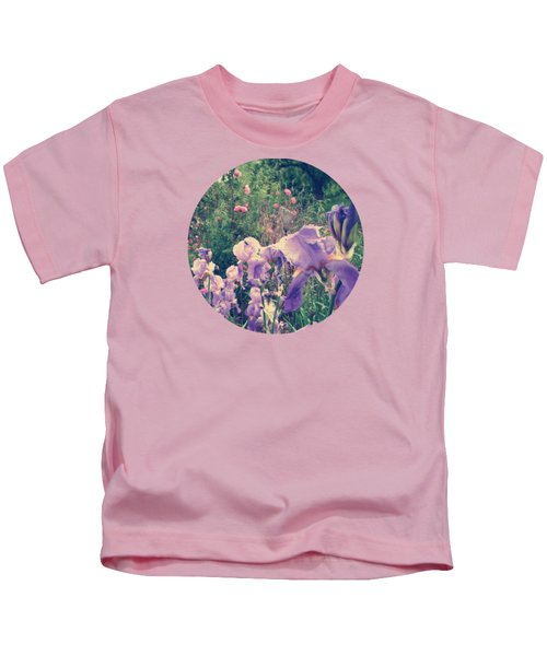 Irises And Roses In The Garden Kids T-Shirt by Mary Wolf