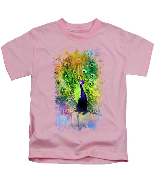 Jazzy Peacock Colorful Bird Art By Jai Johnson Kids T-Shirt by Jai Johnson