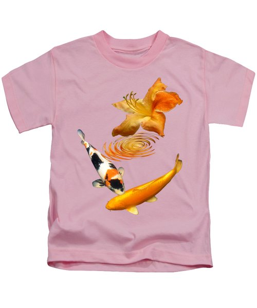 Koi With Azalea Ripples Vertical Kids T-Shirt by Gill Billington