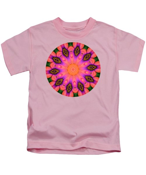 Mandala Salmon Burst - Prints With Salmon Color Background Kids T-Shirt by Hao Aiken