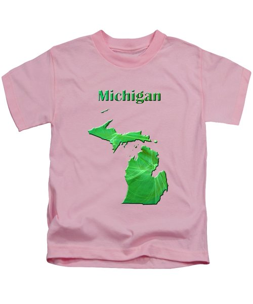 Michigan Map Kids T-Shirt by Roger Wedegis