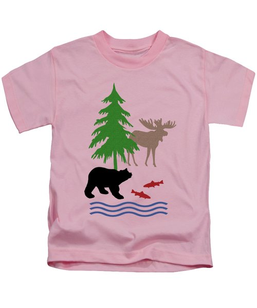 Moose And Bear Pattern Art Kids T-Shirt by Christina Rollo