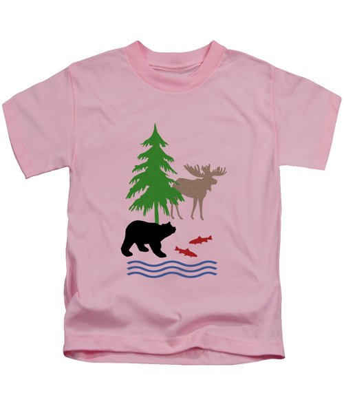 Moose And Bear Pattern Kids T-Shirt by Christina Rollo