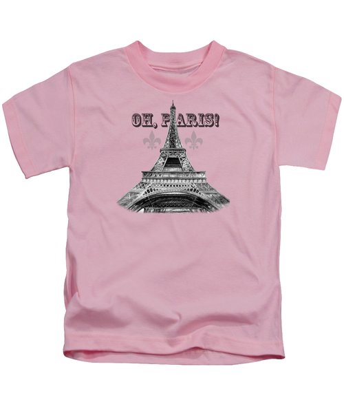 Oh Paris Eiffel Tower Kids T-Shirt by Irina Sztukowski