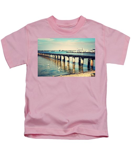 Old Fort Myers Pier With Ibises Kids T-Shirt by Carol Groenen