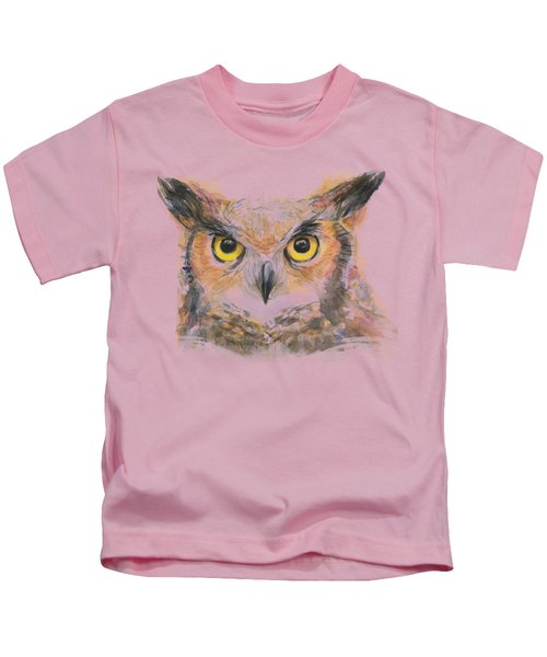 Owl Watercolor Portrait Great Horned Kids T-Shirt by Olga Shvartsur