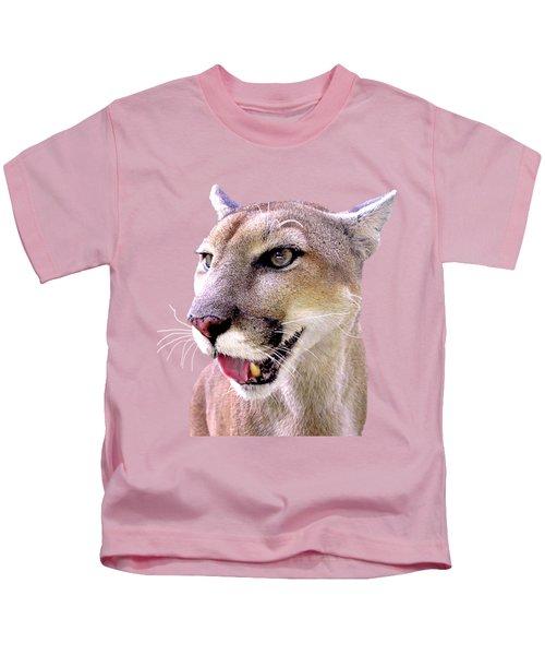 Panther Portrait Transparent Kids T-Shirt by Sabrina Wheeler