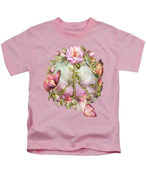 Peace Rose Kids T-Shirt by Carol Cavalaris