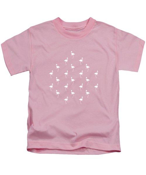 Pink Flamingos Pattern Kids T-Shirt by Christina Rollo