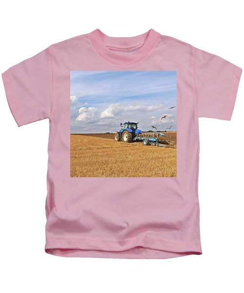 Ploughing After The Harvest - Square Kids T-Shirt by Gill Billington