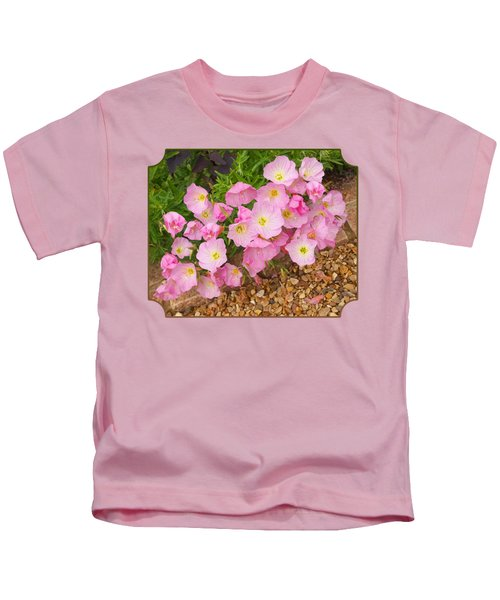 Pretty Pink Rock Roses In The Rain Kids T-Shirt by Gill Billington
