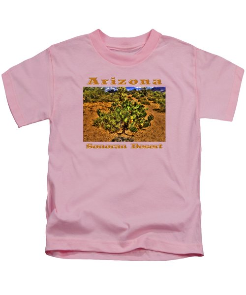 Prickly Pear In Bloom With Brittlebush And Cholla For Company Kids T-Shirt by Roger Passman