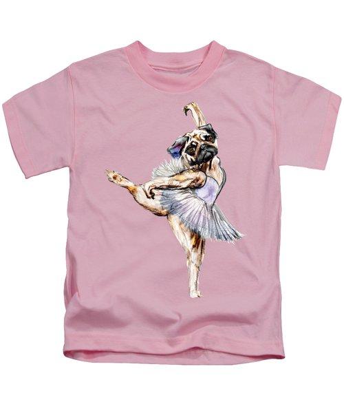 Pug Ballerina Dog Kids T-Shirt by Notsniw Art