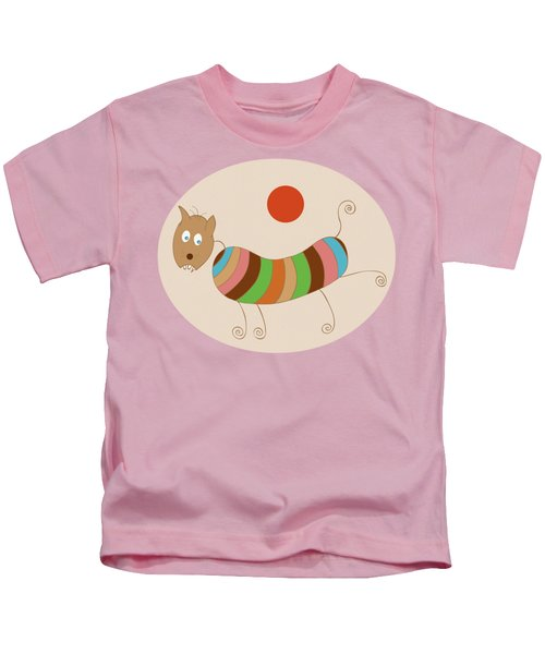 Sausage Dog In Ketchup Sunset Kids T-Shirt by Frank Tschakert