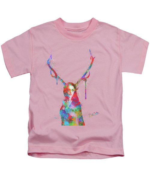 Song Of Elen Of The Ways Antlered Goddess Kids T-Shirt by Nikki Marie Smith