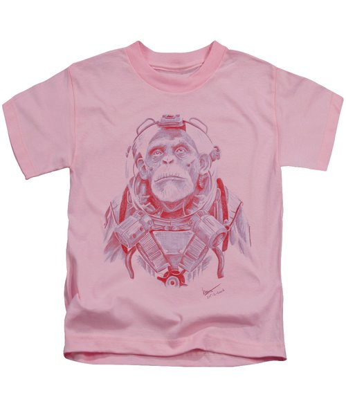 Space Chimp Kids T-Shirt by Kenny Noorlander
