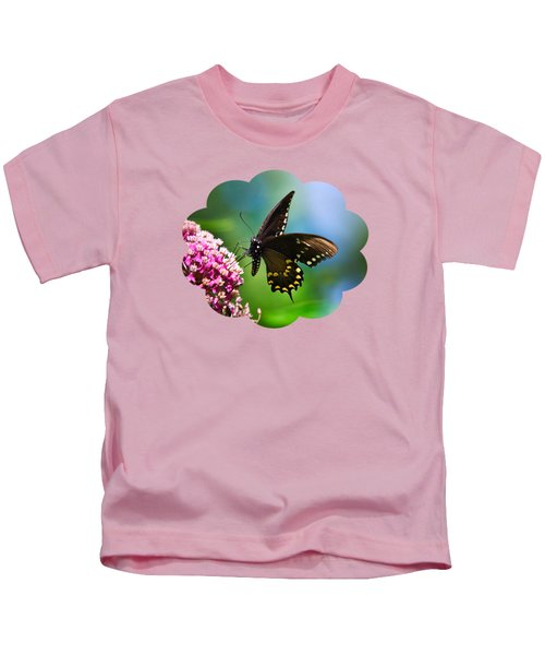 Spicebush Swallowtail Butterfly On Pink Flower Kids T-Shirt by Christina Rollo