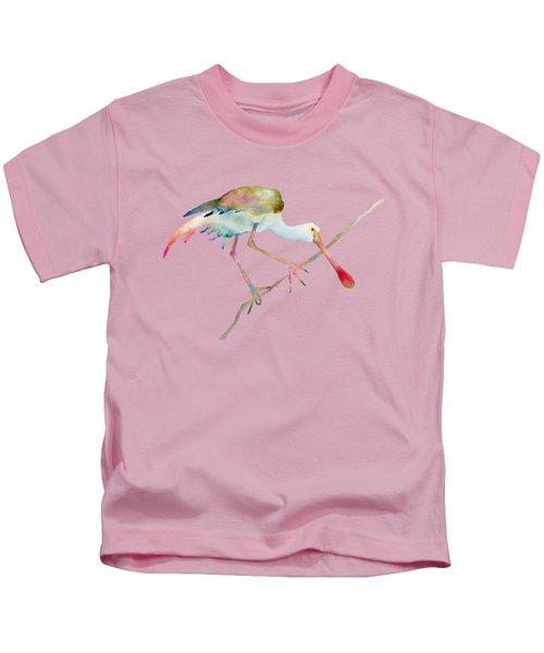 Spoonbill  Kids T-Shirt by Amy Kirkpatrick