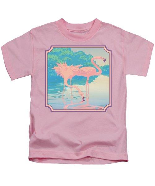 Square Format - Pink Flamingos Retro Pop Art Nouveau Tropical Bird 80s 1980s Florida Painting Print Kids T-Shirt by Walt Curlee