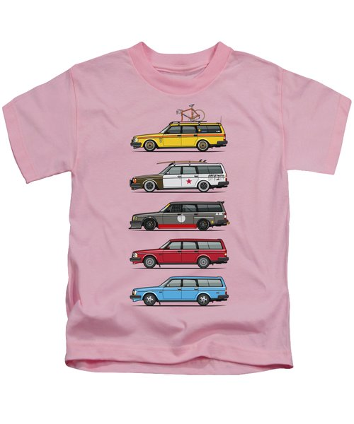 Stack Of Volvo 200 Series 245 Wagons Kids T-Shirt by Monkey Crisis On Mars