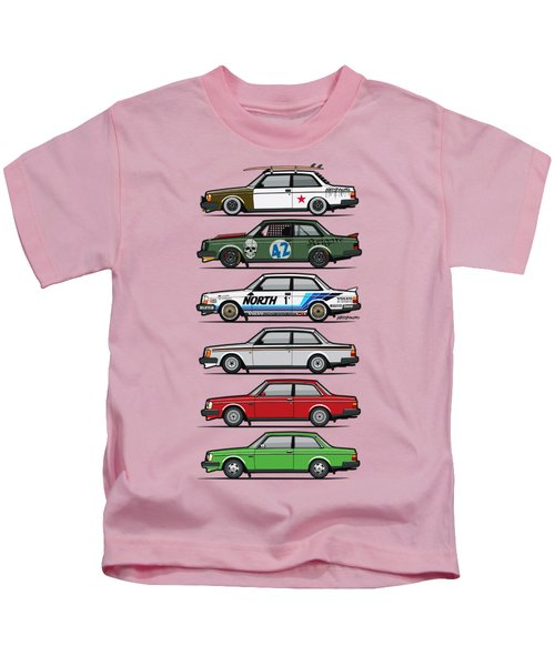 Stack Of Volvo 242 240 Series Brick Coupes Kids T-Shirt by Monkey Crisis On Mars