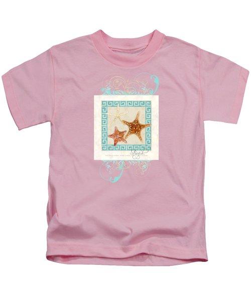 Starfish Greek Key Pattern W Swirls Kids T-Shirt by Audrey Jeanne Roberts
