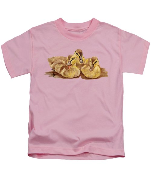 Three Ducklings Kids T-Shirt by Angeles M Pomata
