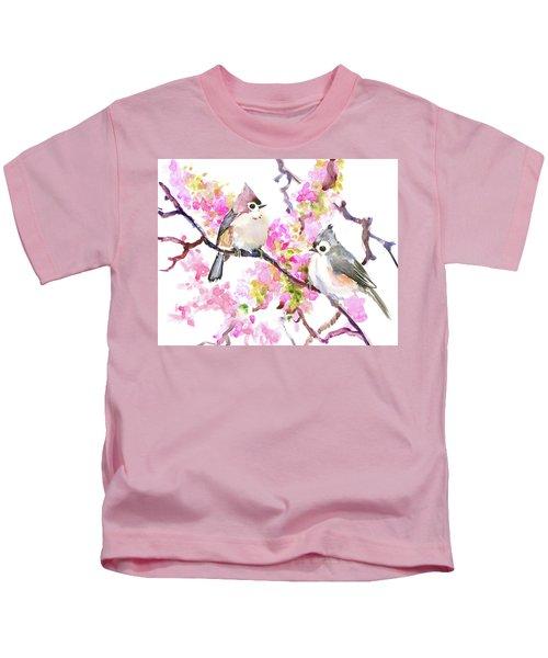 Titmice And Cheery Blossom Kids T-Shirt by Suren Nersisyan